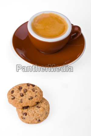 tasse espresso und kekse isoliert auf