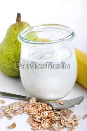 yogurt oatmeal and fruit