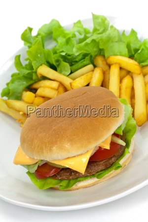 ,	cheeseburger, mit, pommes, frites - 1960301