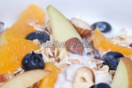 fruit muesli close