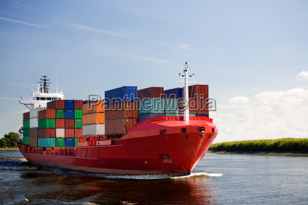 cargo container ship on river