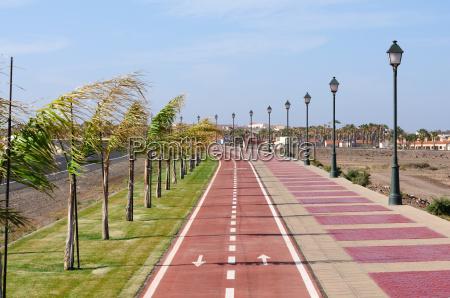 bicycle path in caleta de fuste