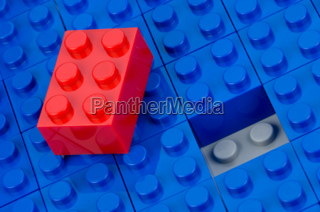 red block on blue