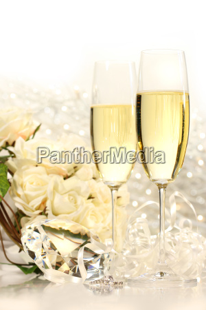 champagne glasses ready for wedding festivities