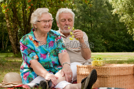 senior couple picknicking in the park