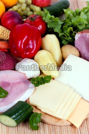 schinken mit obst und gemuese