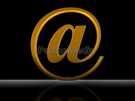 3d golden at symbol