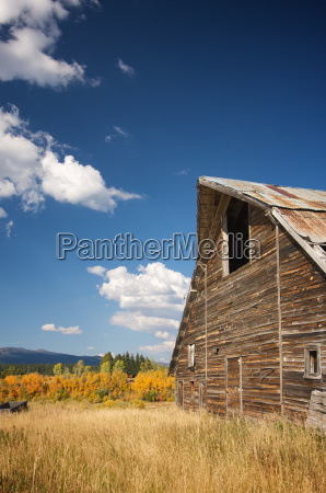 rustic barn scene with deep blue