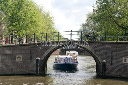 canal boats in amsterdam netherlands