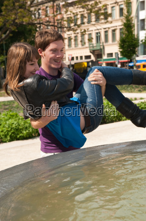 young couple in berlin spring