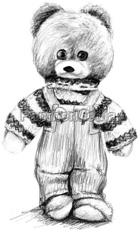 teddybaer in latzhose und pullover