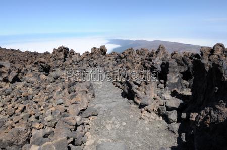 canary islands teneriffa lava path way