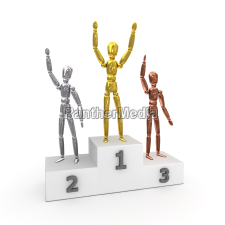 victory podium gewinner in gold