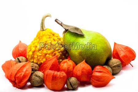 ensemble of autumn pumkin pear and