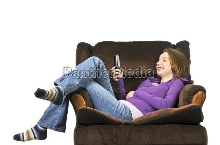 teenage girl talking on a phone