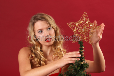 woman with poinsettia