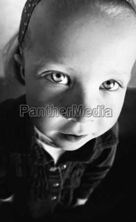 wide angle shot of little girl