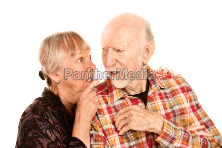 senior man and woman having discussion