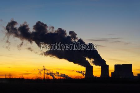 schwarze pumpe kraftwerk sonnenaufgang