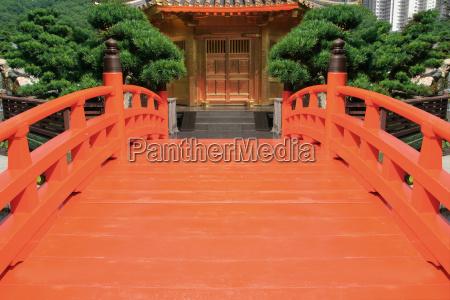 red bridge in a chinese garden