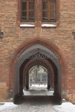 snowy vaulted passage