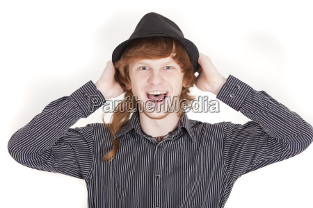 happy man with hat