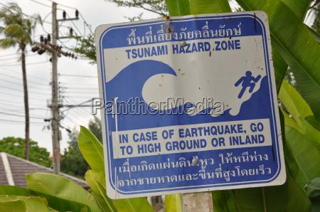 thailand khao lak tsunami schild