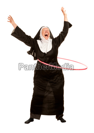 funny nun in socks with toy