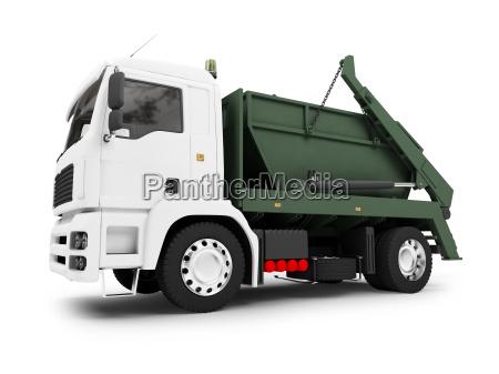 isolated trash dump car on white