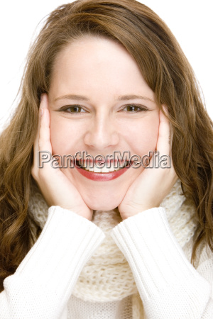 young attractive woman with scarf is