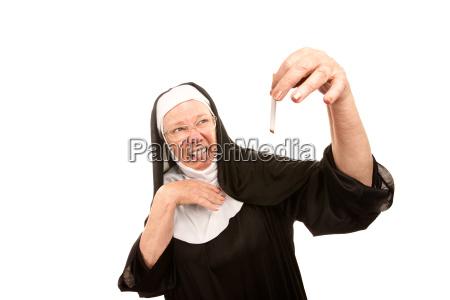 funny nun caught smoking