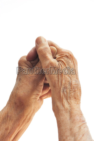 senior woman hands isolated on