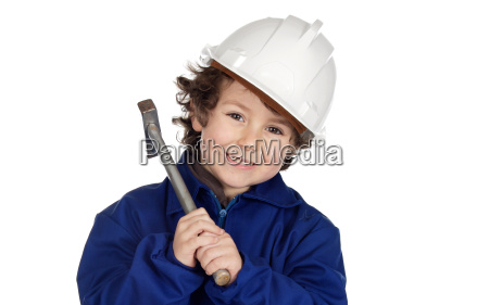 adorable future worker with a hammer