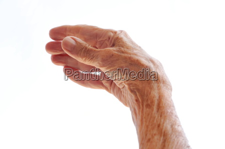 senior woman hand isolated