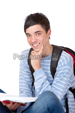 young handsome smiling male student sitting