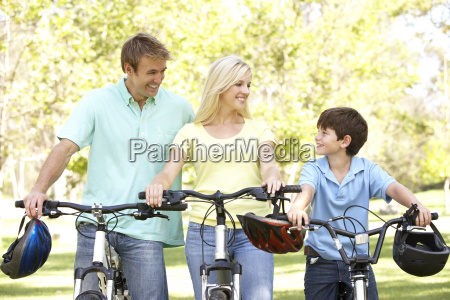 parents and son on cycle ride