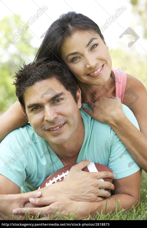 paar, im, park, mit, american, football - 2818873