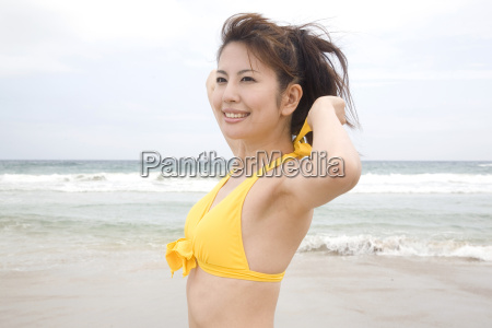 portrait of japanese woman in swimsuit