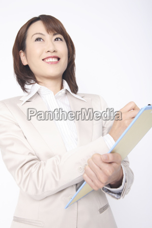 business lady to write something in