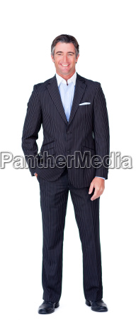 happy businessman against a white background
