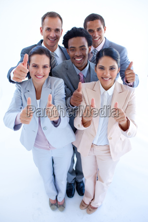 happy multi ethnic business team with