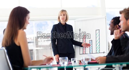 businesswoman reporting to sales figures to