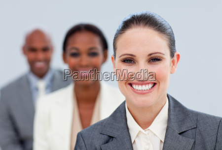 nahaufnahme eines attraktiven managers und ihres