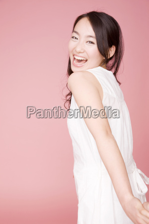 smiling japanese young woman