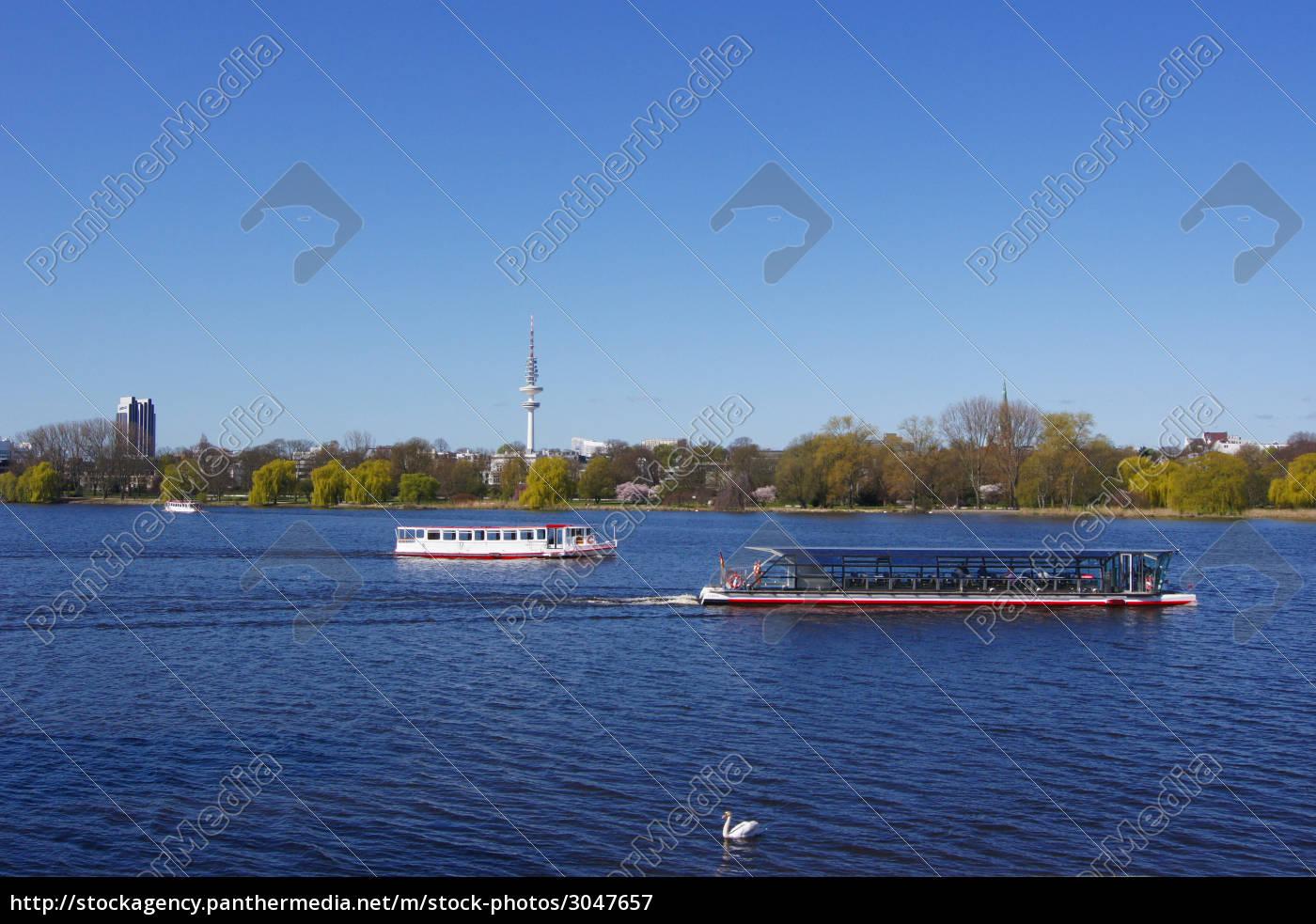 alsterschiffahrt, mit, schwan - 3047657