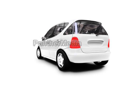 mini vista posteriore auto bianca