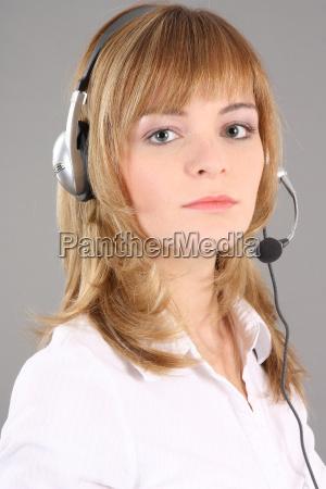 serious call center agent