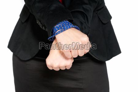 geschaeftsfrau haende gebunden job slave konzept