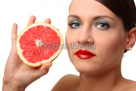 portrait with grapefruit