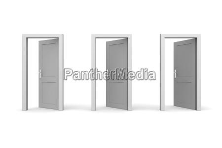 drei graue open doors